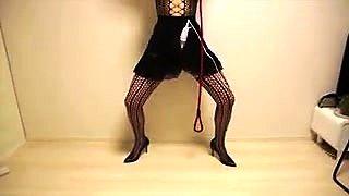 Kinky babe in lingerie explores her bondage fetish fantasy