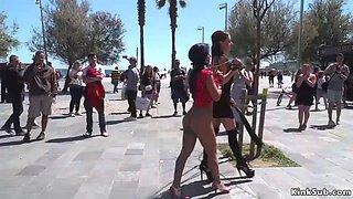 Petite babe lets mistress disgrace her in public