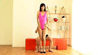 Enticing Oriental milf in pantyhose gets fed a raging dick