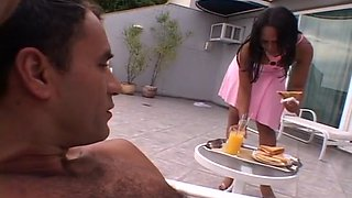 Pretty Black Maid Sits On Her Man's Face