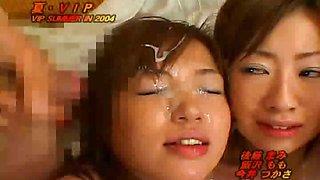 Asians Cum Brushing Cum Eating and Asian Bukkake VIP Summer