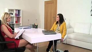 FemaleAgent Lesbian fantasy fulfilled on the casting couch