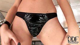 Babe In Skimpy Black Bikini