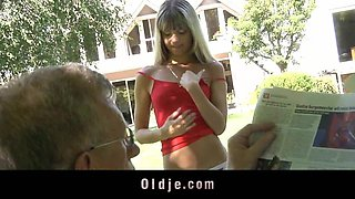 Young blonde seduce and fuck Oldman