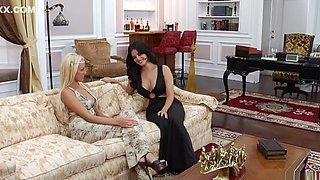 Fabulous pornstars Sunny Leone and Breanne Benson in horny blowjob, lesbian xxx scene